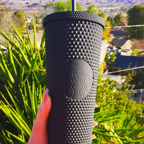 Black matte black studded Starbucks cup 🖤
